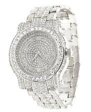 Men Hip Hop Iced out Silver Tone Techno Pave Bling  Watch Simulated Diamond