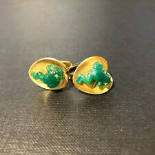 Agate Frogs on Lillypad 18ct Yellow Gold Cufflinks by Deakin and Francis