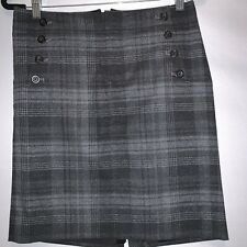 Gap Wool Plaid Skirt Size 2 Front Pockets With Buttons