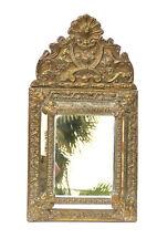 Ancien miroir à parcloses en laiton repoussé fin XIXé  ref 767