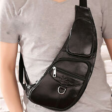 Men Genuine Leather Vintage Travel Messenger Shoulder Sling Pack Chest Bag Pouch