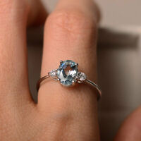 14K Solid White Gold Rings 1.70 Ct Oval Natural Aquamarine Diamond Gemstone Ring