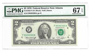 1976 $2 ATLANTA FRN, PMG SUPERB GEM UNCIRCULATED 67 EPQ BANKNOTE