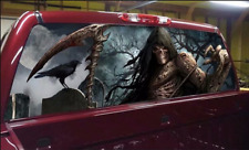 "22""x 65"" Racing Rear Window Wrap Graphic Girm Reaper Cemetery Crow Decal Sticker"