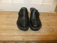 Born Handcrafted Womens Black Leather Slip-On Mules 8M