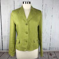 Talbots Blazer Jacket Sz 6 or Small 100% Irish Linen Lime Green Lined 3 Button