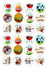 24 B.B.Q. CUPCAKE WAFER RICE EDIBLE FAIRY CAKE TOPPERS
