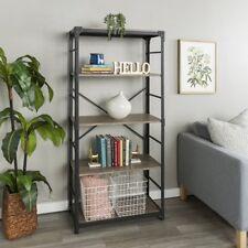 Industrial Bookcase Furniture 4 Display Shelves Storage Cabinet Metal Frame