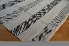 Wool Kilim Rug Large Reversible Diamonds Stripes - 150x240cm - Black White Cream