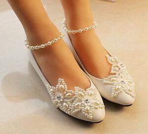 Lace Star Wedding shoes Bridal bridesmaids flats low high heel pump wedge 5-12