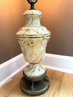 Antique Vtg Gold Capodimonte Hand Painted Table Lamp Koi Feet Base