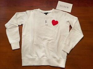 NWT $84 J.CREW white pullover RED HEART embroidered logo SWEATSHIRT Womens XXS