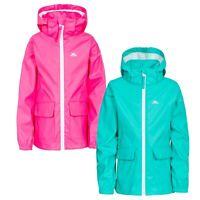 Trespass Girls Waterproof Jacket Raincoat in Pink & Green Nella