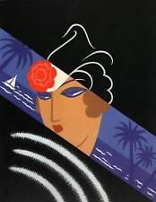 "ORIGINALE VINTAGE Erte Art Deco Print ""Winter Resort"" FASHION Art"