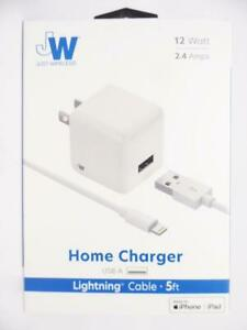 Just Wireless 2.4A 12W Single USB-A ABS Wall Charger 5' Lightning Cable - White