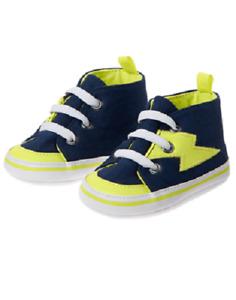 Gymboree Space Lightning Bolt Blue & Green Crib Shoes Infant Baby Boy Size 3 NEW