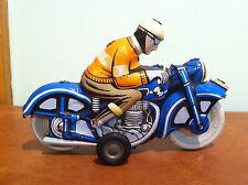 Vintage Ballon Cordatic Tin Friction Toy Motorcycle and Rider