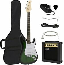 Full Size Kids Adult Electric Guitar Beginner Musicians Kit Amp Gift Set Green