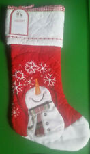 Pottery Barn Kids Snowman With Snowflakes Quilted Christmas Stocking NEW