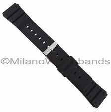 20mm Flex-On Black Rubber Sport Fits Casio Mens Long Watch Band BUY 1 GET1 FREE