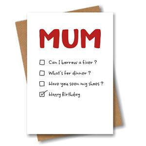 Funny Birthday Card for Mum - Happy Birthday Mum - Love Mother Mummy Cheeky Fun