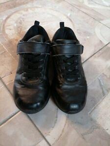 Boys School Shoes Black Trainers Slazenger Size 1