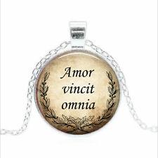 Amor vincit omnia Tibet silver Glass dome Necklace chain Pendant Wholesale