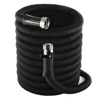 Double Latex Expandable Flexible Garden Hose with 3/4 Nickel Brass 50FT Black