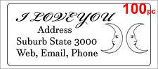 100 Personalised return address label custom adhesive sticker 56x25mm 2 moons