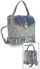 Pewter Glitter and Patent Fashion Backpack Convertible Straps