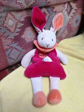 Peluche doudou BABY NAT' Lapin rouge orange beige 27 cm