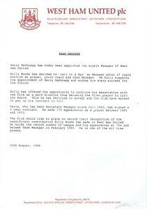 West Ham 1994 Billy Bonds Sacking Letter & Redknapp Appointment AFTAL/UACC RD