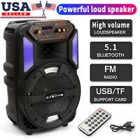"8"" Portable Bluetooth Sub woofer & tweeter Stereo Speaker W/ SD USB TF FM AUX"