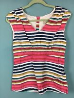 Joules Carmel Pink Blue White Stripe Sleeveless Cotton Top With Pockets 10 - B64