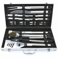 19pc BBQ Cooking Ware Stainless Steel Tool Barbecue Utensil Camping Set Cutlery