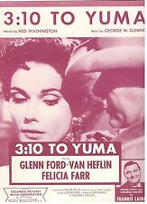 """""""3:10 TO YUMA"""" BY FRANKIE LAINE-PIANO/VOCAL SHEET MUSIC-1957-GLENN FORD-RARE-NEW"""