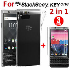 Shockproof Clear TPU Back Case Cover+3 Pc Screen Protector for BlackBerry Keyone