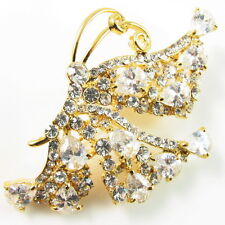 USA BROOCH use Swarovski Crystal PIN fashion clear butterflygold white Large