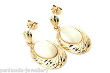9ct Gold Mother of Pearl Drop Dangly Earrings Gift Boxed Made in UK