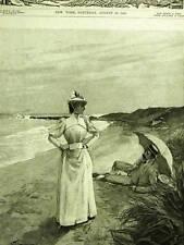 LAZY BOY & GIRL ON BEACH UMBRELLA 1892 Antique Art Print Matted