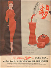 1957 Vintage ad for Libby's Tomato Juice`Glass Tomato Can Red Dress 051617)