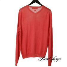 #1 MENSWEAR Polo Ralph Lauren 100% SILK Coral Pink Knitted V-Neck Sweater L NR