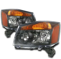 CRYSTAL G2 HEAD LIGHT LAMP BLACK/AMBER SET FOR 2004-2015 TITAN/2005-2007 ARMADA