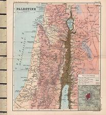 c1890 Victorian Map ~ Palestine Samaria Judea El Khulil Inset Jerusalem