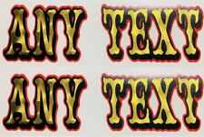 2 CUSTOM TEXT STICKERS harley fxr dyna sportster decal davidson motorcycle name