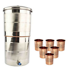 1Steel & Inside Copper 20 Liter Water Filter Candle Tank Free 6 Copper Glass -UK