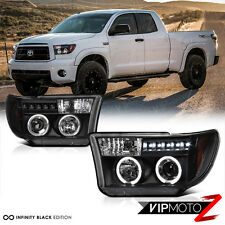 2007-2013 Toyota Tundra Black L.E.D Halo Projector Head Light Signal Lamp LH+RH