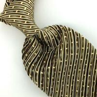 "Brioni Tie Italy Khaki Brown Pleated Heavy Stripes Luxury Ties L4 New XL 61""Long"