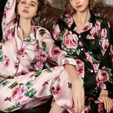 Damen 100%Satin Seide Pyjama-Set Rose Bedruckt Nachtwäsche Langärmlig