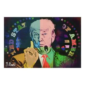 "Mark Braver ""Trump"" One-of-a-Kind Mixed Media Acrylic on Canvas Hand Signed LOA"